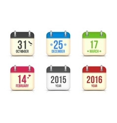 calendar icons set for holidays vector image