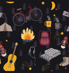Camping seamless pattern forest night vector