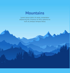 cartoon mountains and forest landscape background vector image