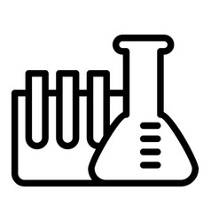 chemistry tubes line icon flask with ampoule vector image