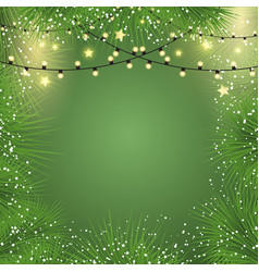 christmas background with lights and fir tree vector image