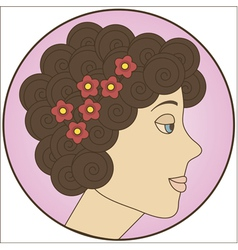 Circle with brunette girl inside vector image