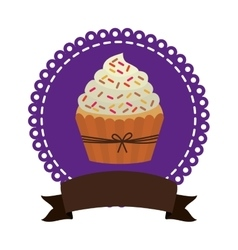 Circular border with cupcake with cream and sparks vector
