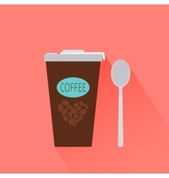 Coffee paper cup icon with shadow vector