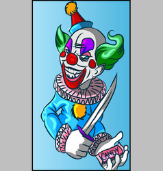 colorful evil clown with candy in his hands vector image