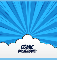 Comic background with clouds and rays vector