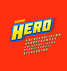 Comics style font super hero upper and lowercase vector