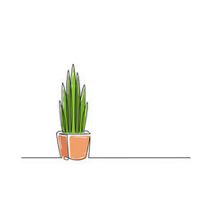 continuous one line drawing a flower in a pot vector image