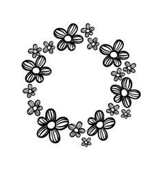 Contour circle rustic flowers with petals vector