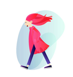 creative girl in a coat walking alone vector image