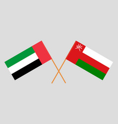 Crossed flags oman and united arab emirates vector