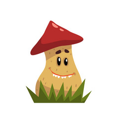 cute funny boletus mushroom character with red cap vector image