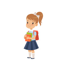 Cute girl with backpack holding books pupil in vector