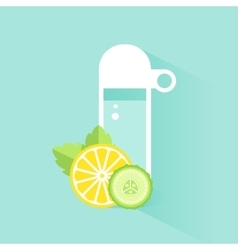 Detox Water Bottle with Lemon Cucumber and Mint vector