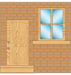 Door with window in wall vector image