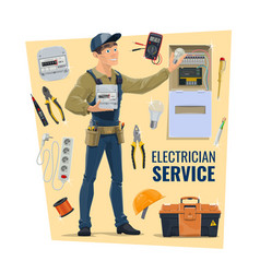 Electrician worker tools and supplies vector