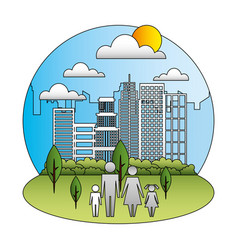 family in cityscape silhouette avatars vector image