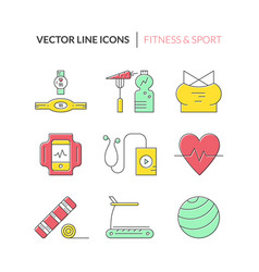fitness icon collection vector image