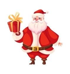 Funny flat santa holding christmas gift box vector