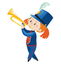 Girl in blue uniform playing trumpet vector