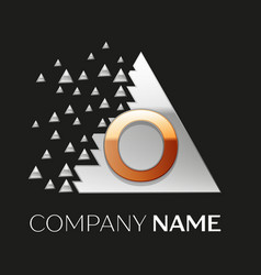Golden letter o logo in silver pixel triangle vector