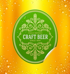 Green beer label with flourishes emblem vector image