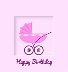 Greeting card with pink baby stroller vector