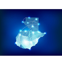Guatemala country map polygonal with spot lights vector