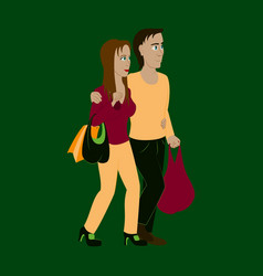 guy and girl with shopping bags vector image