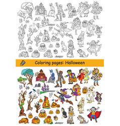 halloween coloring cartoon vector image