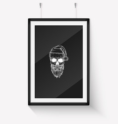 handdrawn angry skull santa claus vector image