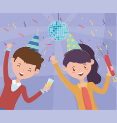 Happy couple with disco ball ceofetti hats vector