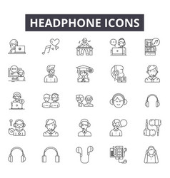headphone line icons signs set outline vector image
