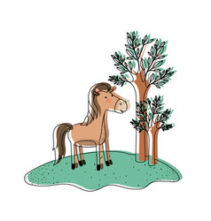 Horse cartoon in forest next to the trees in vector