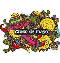 Image sombreros cactuses and maraca in cartoon vector