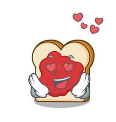 in love bread with jam mascot cartoon vector image