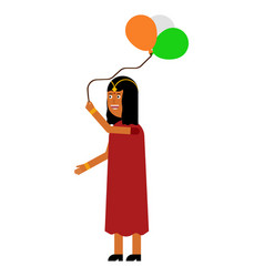 indian girl holding balloons vector image