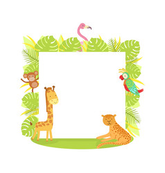 jungle animals with blank banner flamingo monkey vector image