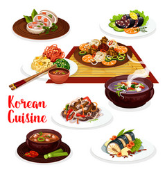 Korean meat vegetable and fish dishes vector
