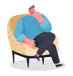 Man relaxing sitting in armchair smiling adult vector