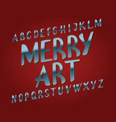 merry art typeface blue golden font isolated vector image