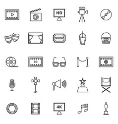 movie line icons on white background vector image