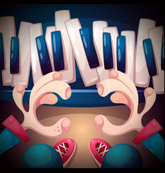music piano synthesizer hand and vector image