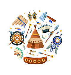 native american indian symbols round shape vector image