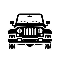 off road car front view black vector image