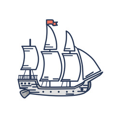 Old wooden ship with red flag outline vector
