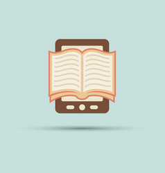 open book on screen tablet flat icon vector image