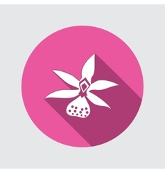 Orchid flower icons Floral symbol Round circle vector