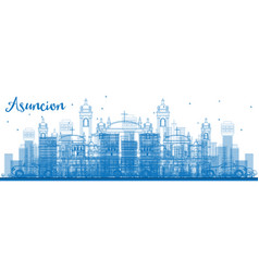 Outline asuncion skyline with blue buildings vector