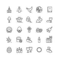 outline icons - easter symbols spring set vector image